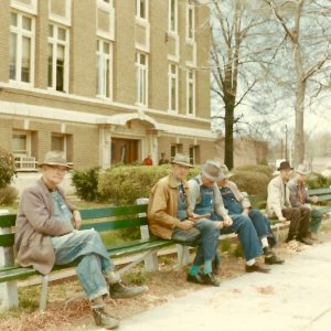 Whittling by the courthouse